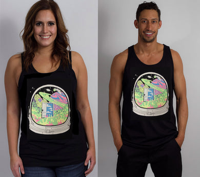 A Deep Space Hyph- Glow in the Dark UNISEX TANK TOP includes FREE LED MINI BLACK LIGHT