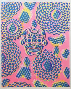 "Glow in the Dark Art Print #4 Small Diamond Sugar Skull 9.5x12"" Includes free mini blacklight!!"