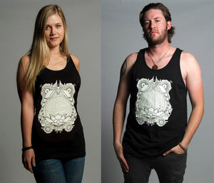 Totemical Glow in the Dark Unisex Tanks Black includes FREE LED MINI BLACK LIGHT