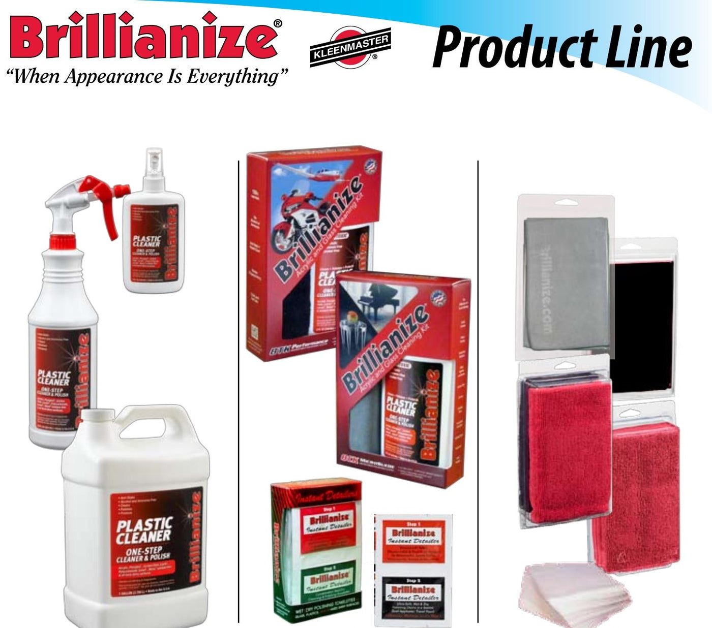 Brillianize acrylic cleaner and plastic polish range