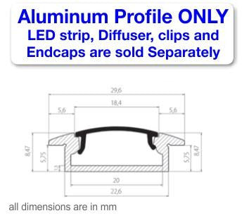 Recess LED Strip Channel - Model RSLW8 [Profile Only]| Wired4Signs USA |