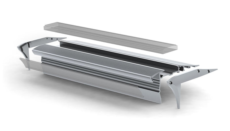 Silver LED Stair Lights Channel - Model Alu-Stair2 [Profile Only]| Wired4Signs USA |