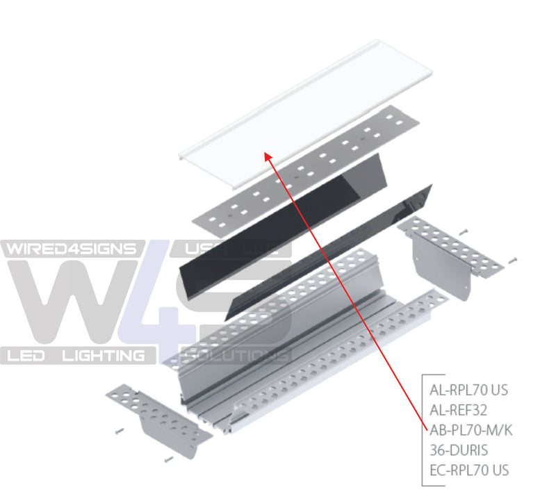 Polycarbonate, UV-stabilized, diffuser for DPL70, RPL70US, DPL70FL opal finish - Wired4Signs USA
