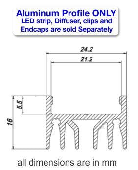 Surface Mount LED Strip Channel - Model Alu Epoxy [Profile Only]| Wired4Signs USA |