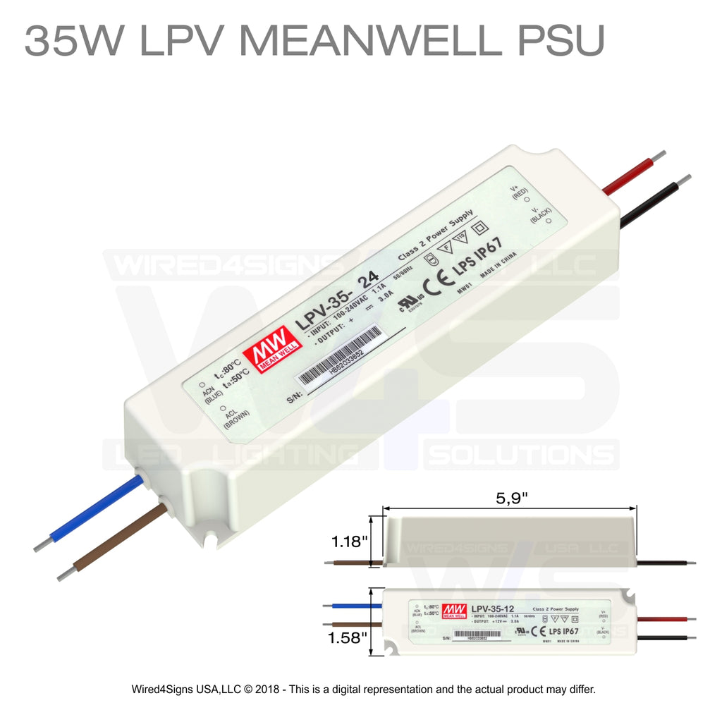 35W LPV Meanwell PSU 24v| Wired4Signs USA |