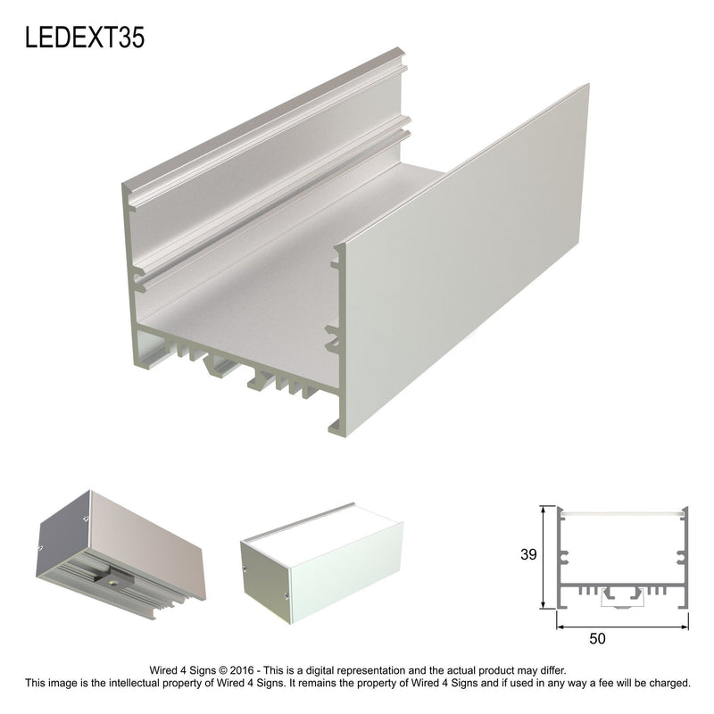Rectangular LED Linear Pendant- Model A35 [Profile Only]| Wired4Signs USA |