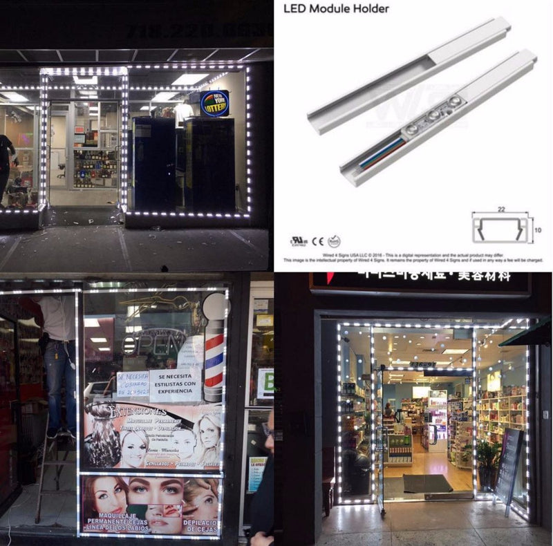 32' PVC LED Storefront Light Track for Storefront LED lights with tracks - Wired4Signs USA