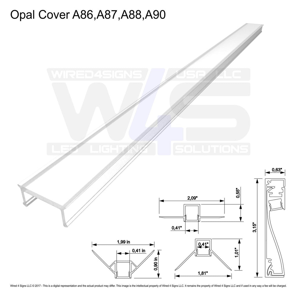 Polycarb Opal Cover A86,A87,A88 (Sold per 2m/6.56ft Length)| Wired4Signs USA |