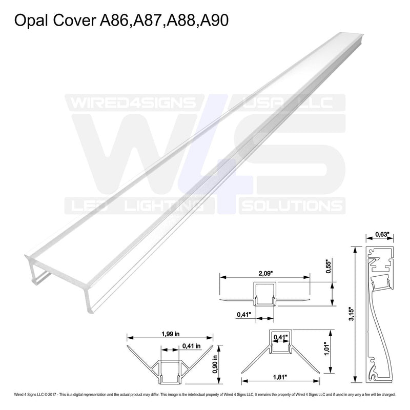 Polycarb Opal Cover A86,A87,A88,A90 (Sold per 2m/6.56ft Length)| Wired4Signs USA |