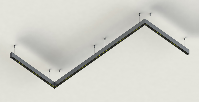 Rectangular LED Linear Pendant - Model PLS33 [Profile Only]| Wired4Signs USA |