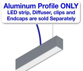 Rectangular LED Linear Pendant - Model DPLS [Profile Only]| Wired4Signs USA |