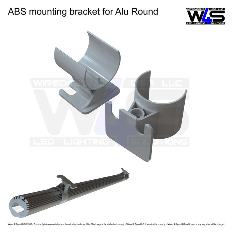 ABS mounting bracket for Alu Round LED profile (0-180 degree/adj.)| Wired4Signs USA |