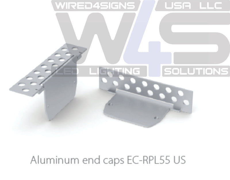 End cap for plaster board profile RPL55US, without cable hole - Wired4Signs USA