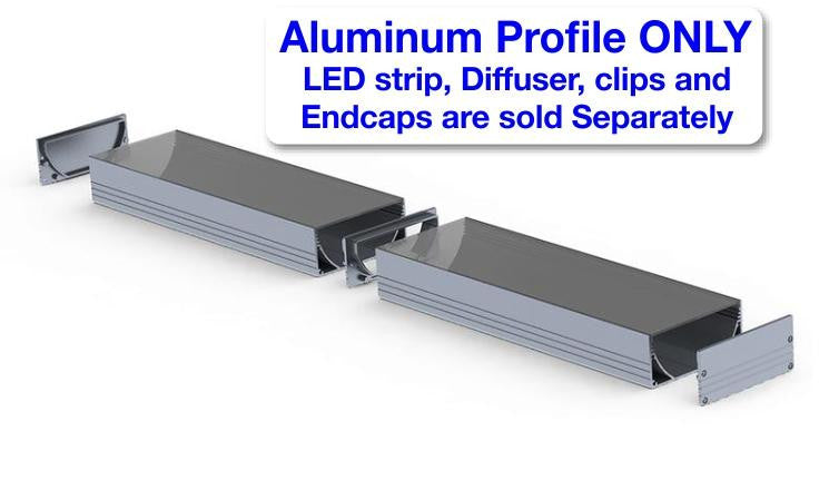 Surface Mount LED Strip Channel - Model PLW80N [Profile Only]| Wired4Signs USA |