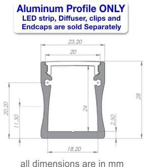 Surface Mount LED Strip Channel - Model SLW20 [Profile Only] - Wired4Signs USA