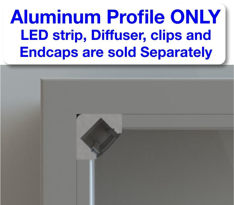 Corner Mount LED Strip Channel - Model ALU 45 [Profile Only] - Wired4Signs USA