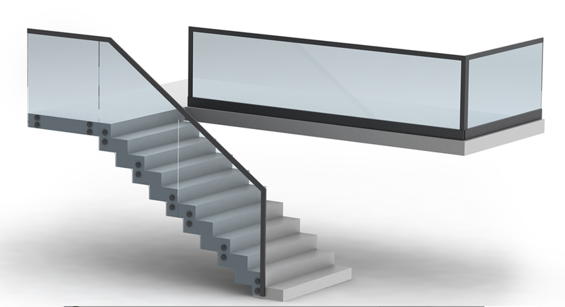 LED Glass Railing Edge-Lit LED Strip Channel - Model Alu Glass [Profile Only]| Wired4Signs USA |