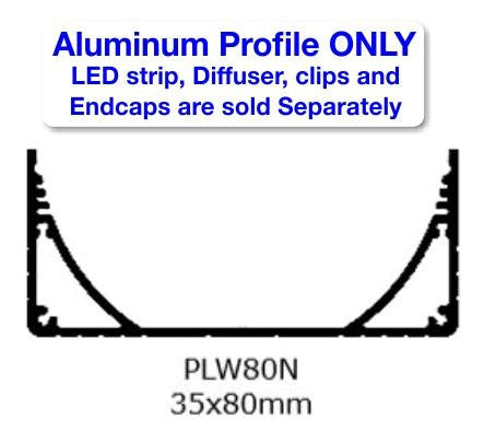 Surface Mount LED Strip Channel - Model PLW80N [Profile Only] - Wired4Signs USA