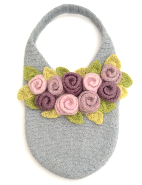 Rosie Posie Bag ~ reshaping the roses after felting