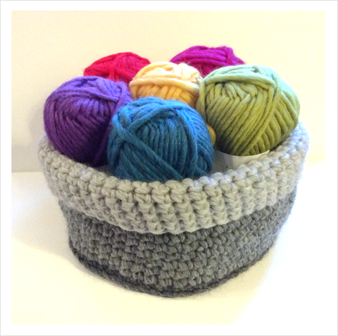 Felted Crochet Basket Pattern and Tutorial by Cotton Pod