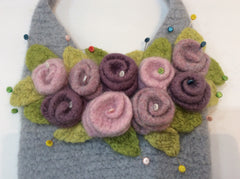 Rosie Posie Tote Crochet Felted Bag by Cotton Pod