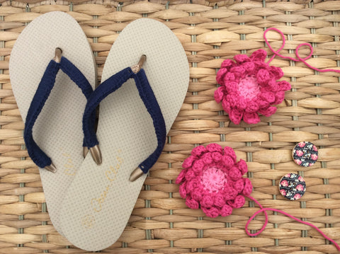 Crochet Flip flops in DROPS Paris by Cotton Pod