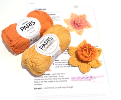 Daffodil Crochet Kit by Cotton Pod, using DROPS Paris 13 14