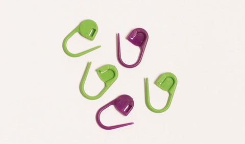 Buy Pack of 30 locking DROPS stitch markers in green and purple from Cotton Pod