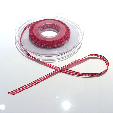 Buy Berisfords 5mm Gingham ribbon red from Cotton Pod