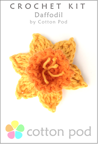 Daffodil Crochet Kit buy from www.cottonpod.co.uk