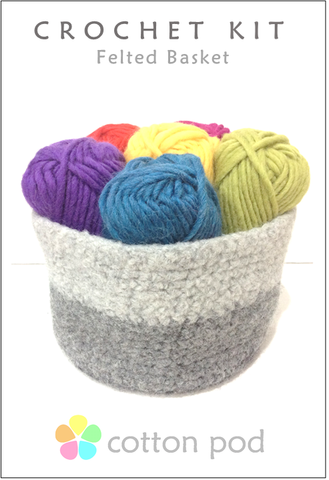 Felted Basket Crochet Kit buy from www.cottonpod.co.uk