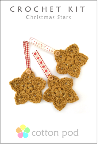 COTTON POD Crochet Kit ~ Christmas Stars - Gold