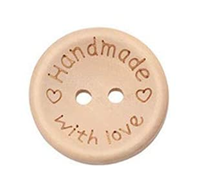 Handmade With Love ~ wooden button ~ 25mm diameter