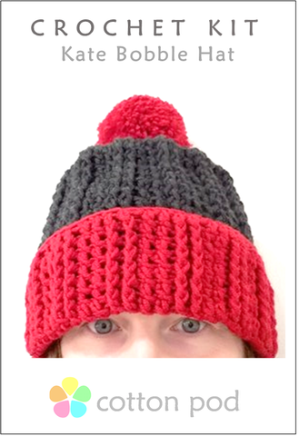 COTTON POD CROCHET KIT ~ Kate Bobble Hat ~ Red & Anthracite