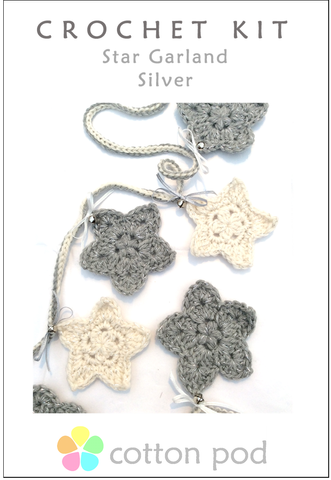 COTTON POD Crochet Kit ~ Star Garland ~ Silver & Cream