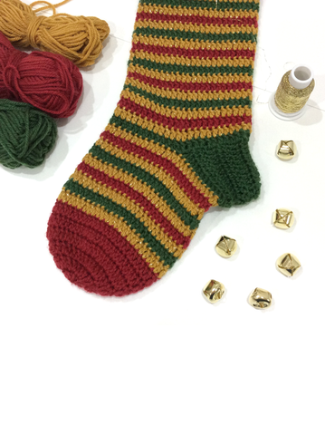 Jingle Bells Crocheted Christmas Stocking by Cotton Pod