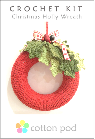 COTTON POD Crochet Kit - Holly Wreath