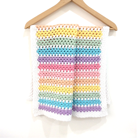 COTTON POD Crochet Pattern - Candy Stripe Baby Blanket (PDF download)