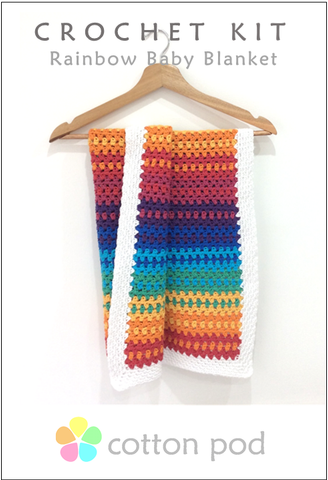Crochet Rainbow Baby Blanket Kit from Cotton Pod UK