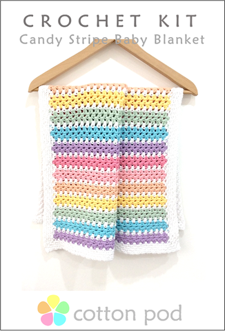 COTTON POD Crochet Kit ~ Candy Stripe Baby Blanket