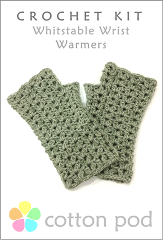 43b273a796e COTTON POD Crochet Kit ~ Whitstable Wrist Warmers ~ available in 8 shades