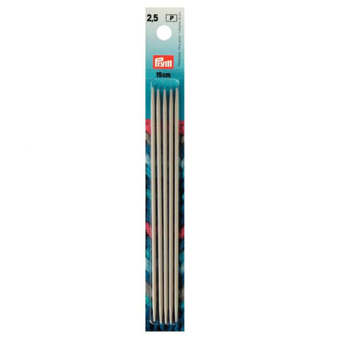 Prym Double-pointed needles ~ 15cm long ~ Set of 5 ~ Size 2.5mm