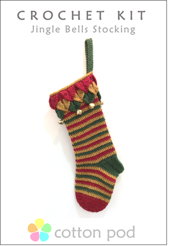 COTTON POD CROCHET KIT ~ Jingle Bells Stocking ~ Traditional