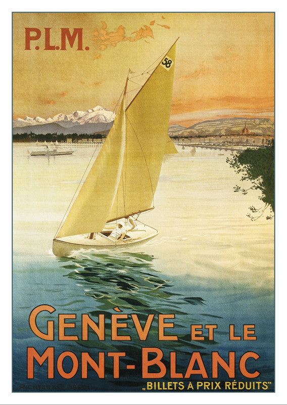 A-10515 - Geneva and the Mont-Blanc - Poster P.L.M. about 1910