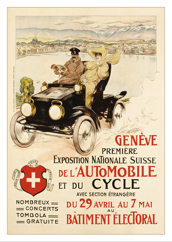 GENÈVE - PREMIER SALON DE L'AUTOMOBILE ET DU CYCLE - Poster by Auguste Niollier - 1905