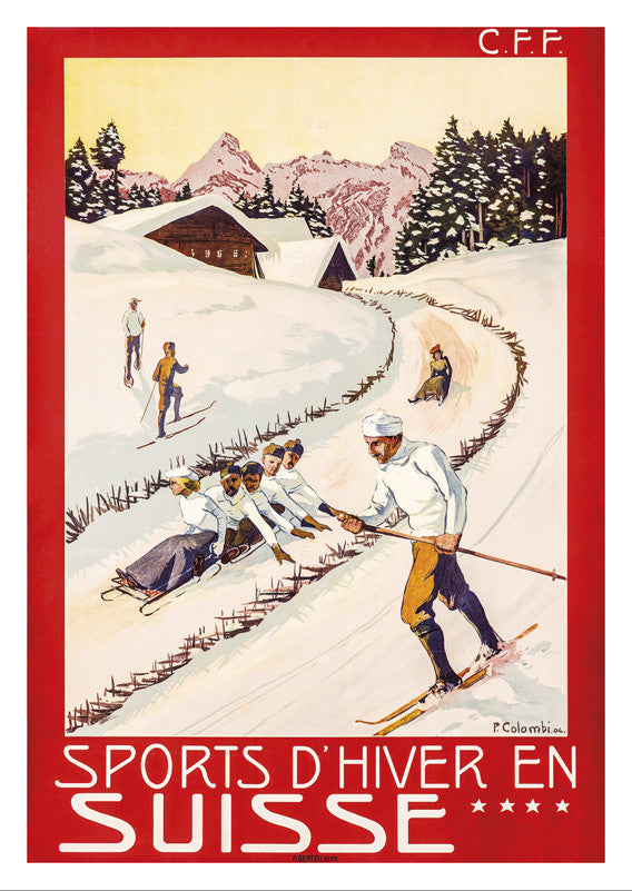 SPORTS D'HIVER EN SUISSE - Poster by Plinio Colombi - 1904