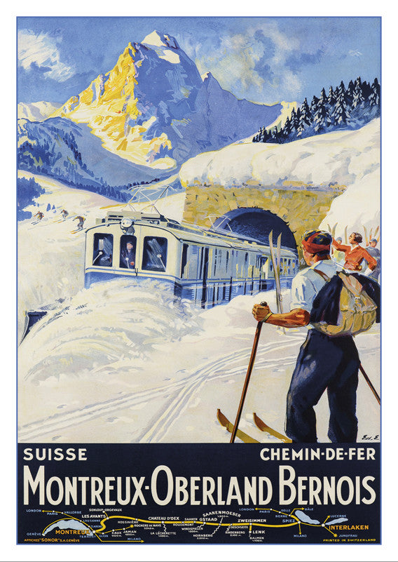 A-10536 - MONTREUX - OBERLAND BERNOIS - Poster by Edouard Elzingre - 1934