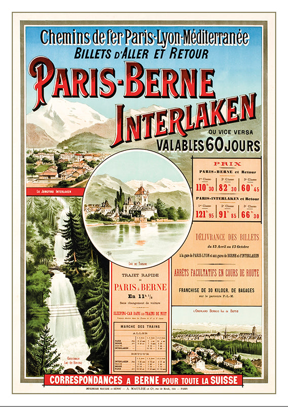 Postcard - PARIS - BERNE - INTERLAKEN - Poster  about 1900