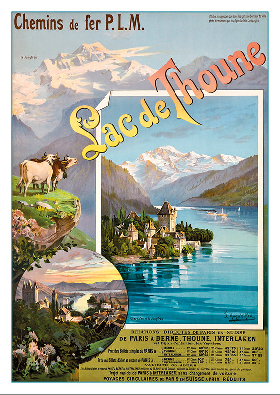 Postcard LAC DE THOUNE - Poster by Hugo Alési about 1898