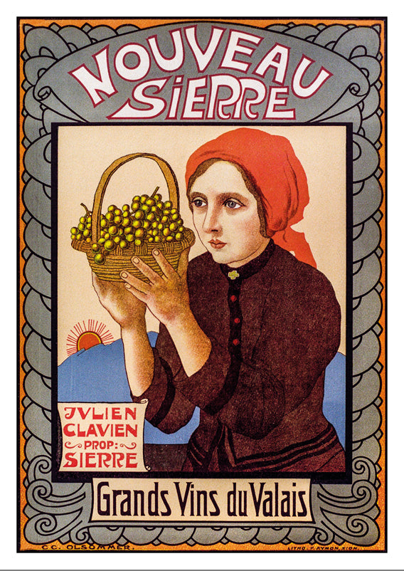 A-10688 - SIERRE - Grands vins du Valais - Poster by Olsommer - 1910
